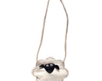 Sheep Bag - Needle Felted Lamb - Handmade Wool - Felt Animal Farmyard Accessory