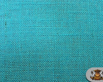 "Burlap Jute TURQUOISE Fabric / 58"" / Sold by the yard"