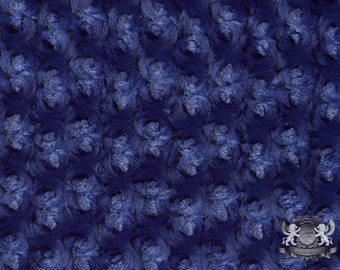 "Minky ROSEBUD Navy Blue Fabric / 58"" Wide / Sold by The Yard"