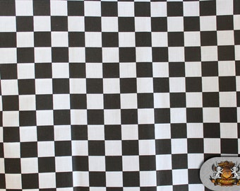 """Polycotton Printed CHECKERED Black and White Fabric / 60"""" Wide / Sold by the Yard"""