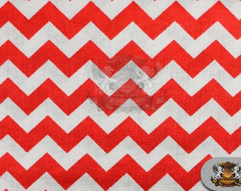 "Polycotton Printed ZIGZAG Red White Fabric / 59"" Wide / By the Yard"