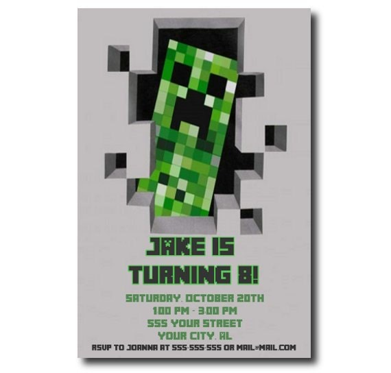 Printable Minecraft Birthday Party Invitations