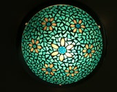 Mosaic lamp shade in blue and white (Tiffany glass and Millefiori beads)