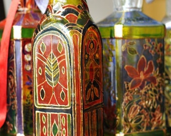 Hand Painted Glass Bottle, red and green. floral, leaves, made per order