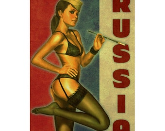 RUSSIA 1P- Handmade Leather Mini Wallet / Cardholder - Travel Art