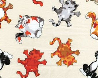 "SUPER CLEARANCE! 30"" REMNANT Alley Cat - Feline Frenzy in Cream - Cotton Quilt Fabric - by Kanvas - Benartex (W147)"