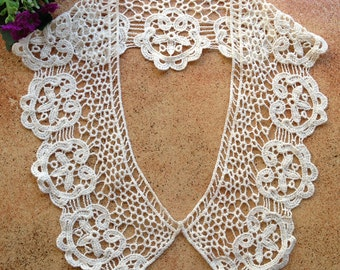 Cotton Collar Appliques - Beige Floral Venise Lace Collar sets to altered your fashion designs