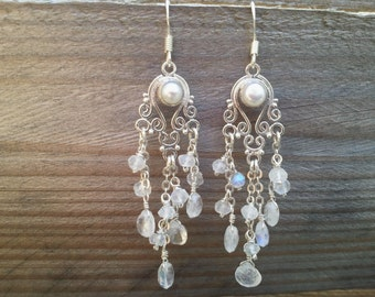 Chandelier Rainbow Moonstone earrings