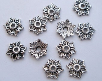 Antique silver bead caps, x100 7mm flower beadcaps, pack of 100 bulk BCS016