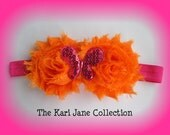 Orange and Pink Sequin Butterfly Headband