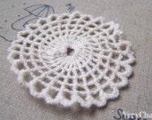 10 pcs Beige Round Filigree Floral Sunflower Cotton Lace Doily 53mm A4774