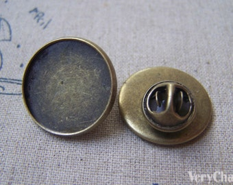 Tie Tack Clutch Round Bronze Lapel Pin Brooch Blank Match 20mm Cabochon Set of 10 A4928