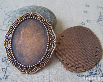 6 pcs of Antique Copper Oval Cameo Base Tray Match 30x40mm Cameo A4410