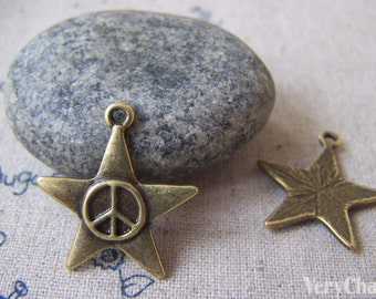 20 pcs of Antique Bronze Peace Symbol Star Charms 24mm A4275