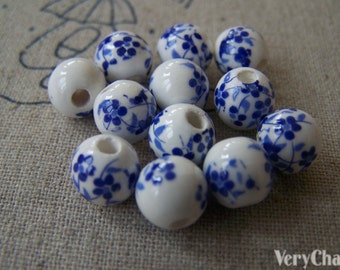 20 pcs Chinese Blue Flower Ceramic Porcelain Beads 8mm A566