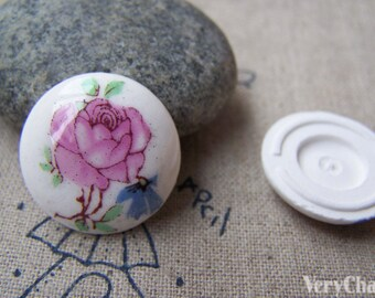 10 pcs of Hand Painted Round Flower Ceramic Cameo Cabochon 21mm A2569