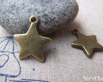 10 pcs of Antique Bronze Star Charms 16mm A1406