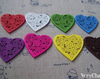 Wood Heart Pendants Cut Out Flower Wooden Charms Assorted Color Set of 10 A3616