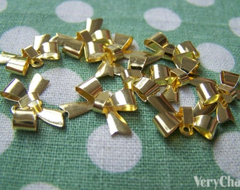 50 pcs of Gold Bow Tie Knot Charms 11x15mm A793
