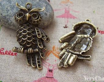 5 pcs of Antique Bronze Lovely Owl Charms Pendants 23x40mm A128