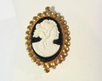 SALE Vintage Victorian Brass Lucite Cameo brooch
