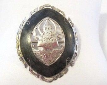 Antique vintage SIAM sterling silver enamel Buddha Pin brooch