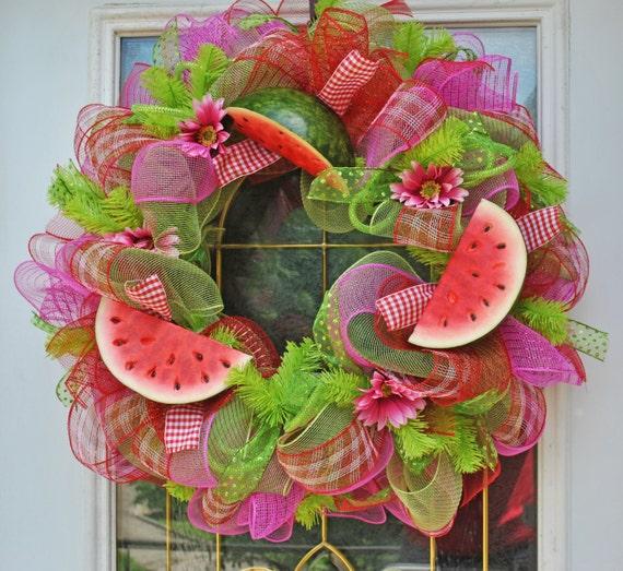 Flip flop wreaths flip flop decorations flip flop welcome wreath flip - Summer Wreaths Deco Mesh Watermelon Wreath Watermelon Party