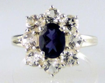 Natural Iolite and White Topaz Cluster Ring 925 SS Sterling Silver