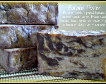 Banana Foster - Rustic Suds Natural - Organic Goat Milk Triple Butter Soap Bar - 5-6oz. Each