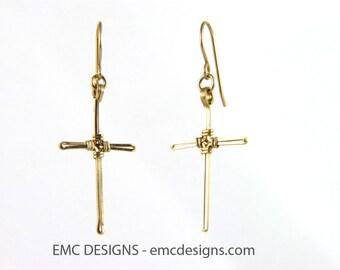 Cross Earrings in 14 Karat Gold Filled Wire