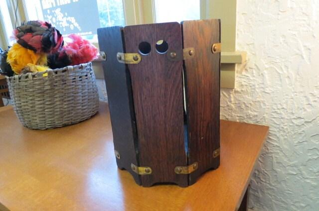 Mission oak stickley style waste basket brass accents