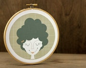 Storm Hoop Art - Retro Woman, Beehive Hair, Embroidery Hoop Art,  Wall Art, Plaid, Tan, Khaki