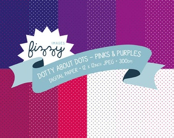 12 x Polka Dot Pattern Digital Papers for Personal and Commercial Use with Instant Download. SS0066