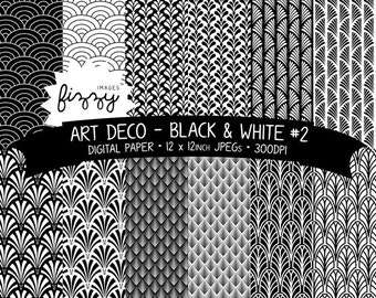 12 x  Art Deco Great Gatsby 1920s 1930s Black & White (No.2) Patterned Digital Paper Clipart  with Instant Download. MPS0026