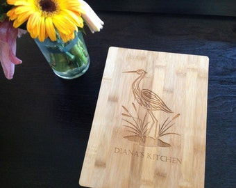 Crane Engraving, Free Customization, BungalowBoo Cutting boards