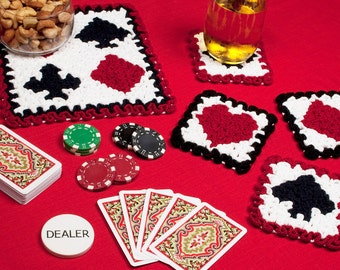 Crochet Coasters Pattern: Wiggly Playing Cards Centerpiece and Coasters, PDF download