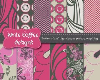 Digital Paper Pack, Scrapbook paper, Birds, Flowers, Chevron paper, hot pink, charcoal, gray paper, instant download, cij, paper goods