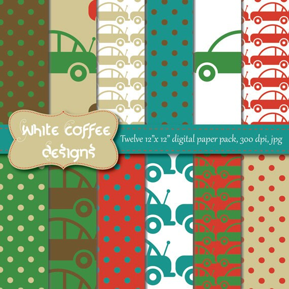 Printable paper scrapbook paper digital paper car for Themed printer paper