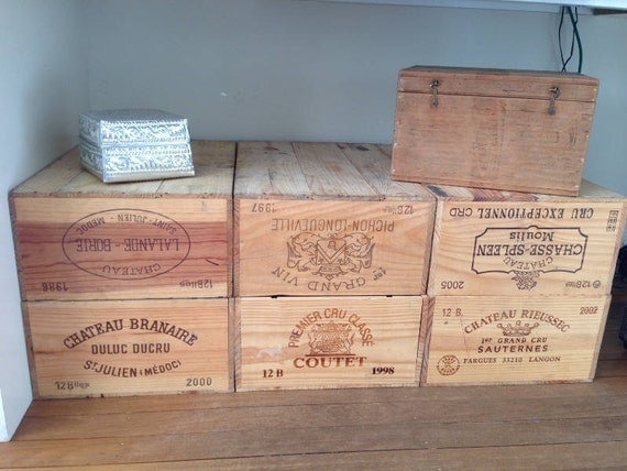 Vintage original wooden 12 bottle wine crate box for by for Diy wine crates