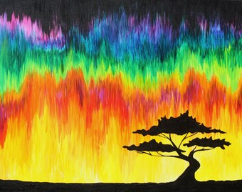 Original Art Print -Home decor- Landscape- Colorful- Sunset- Tree Silhouette 8 x 10