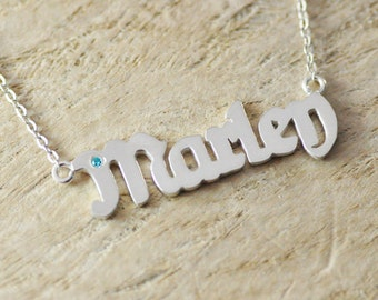 925 sterling silver personalized name necklace, birthstone necklace, name pendant