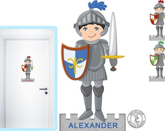Wall decal knight door sign