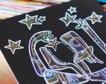 Artistic postcard - Star eater / Fantasy postcard / Illustrated postcard