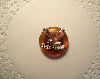 Wyoming Magnet (160) - Wyoming Refrigerator Magnet - Wyoming jewelry - repurposed jewelry