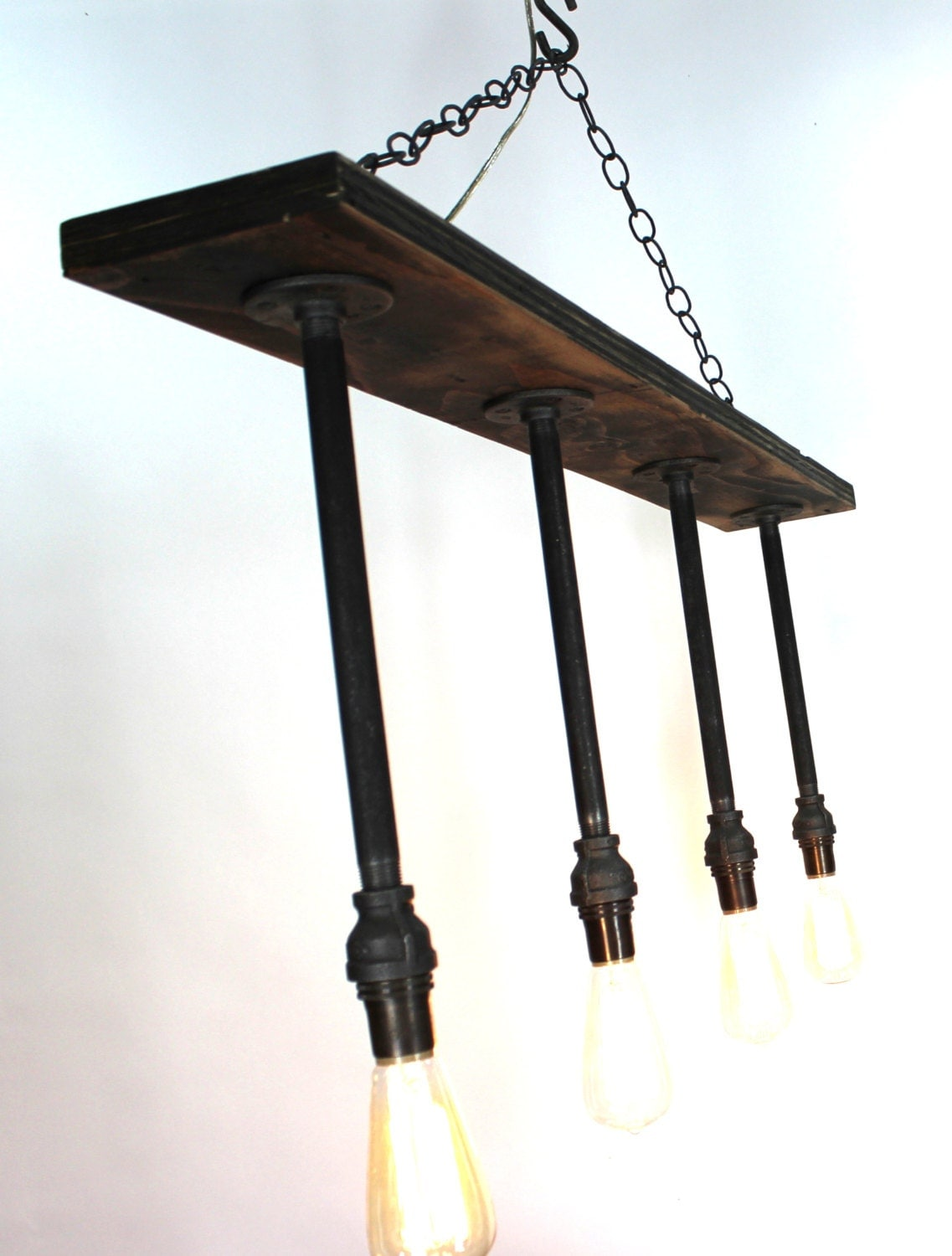 Items Similar To Hand Crafted Hanging Black Pipe 4 Light