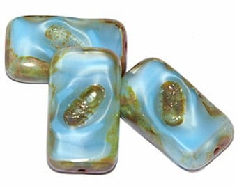 Opaque Sky Blue 20x12mm Picasso Table Cut Rectangle Czech Glass Beads x 6