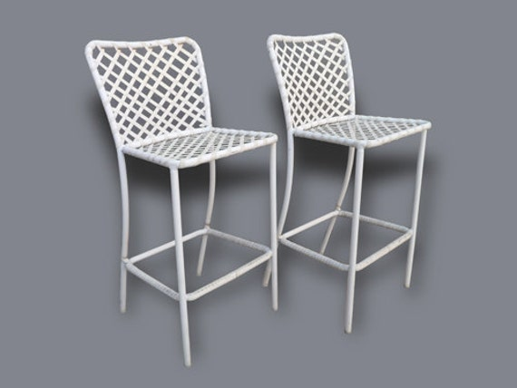Pair Of Brown Jordan Patio Bar Stools Outdoor Vintage Patio