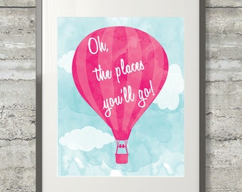 Nursery Art, Playroom Art - Dr. Seuss Wall Art - Oh The Places You'll Go 11x14 Print