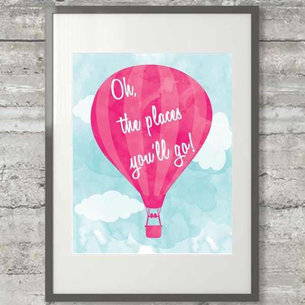 Dr Seuss Quotes Love Quotes On Canvas Original Painting 11x14: Dr. Seuss Wall Art Oh The Places You'll Go 8x10 Print