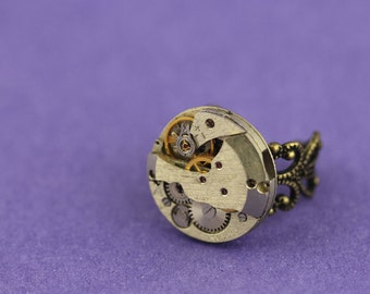 Steampunk ring vintage watch movement ring statement piece absolutely stunning